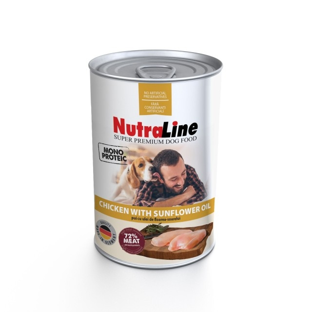 Hrana pentru caini, Nutraline, Dog Adult Monoprotein Pui Ulei de Floarea Soarelui