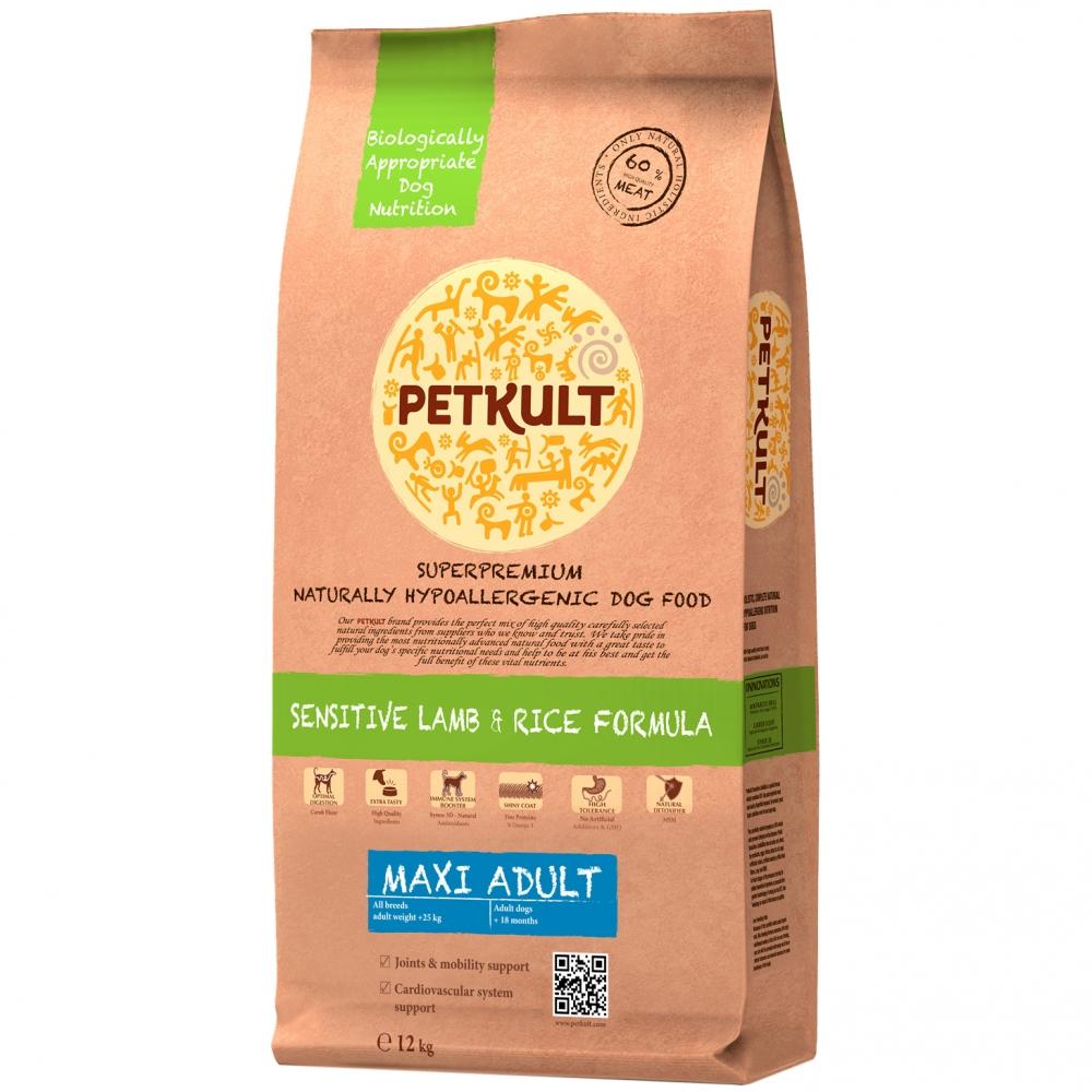 Hrana pentru caini Petkult Sensitive Maxi Adult Miel&Orez 12Kg