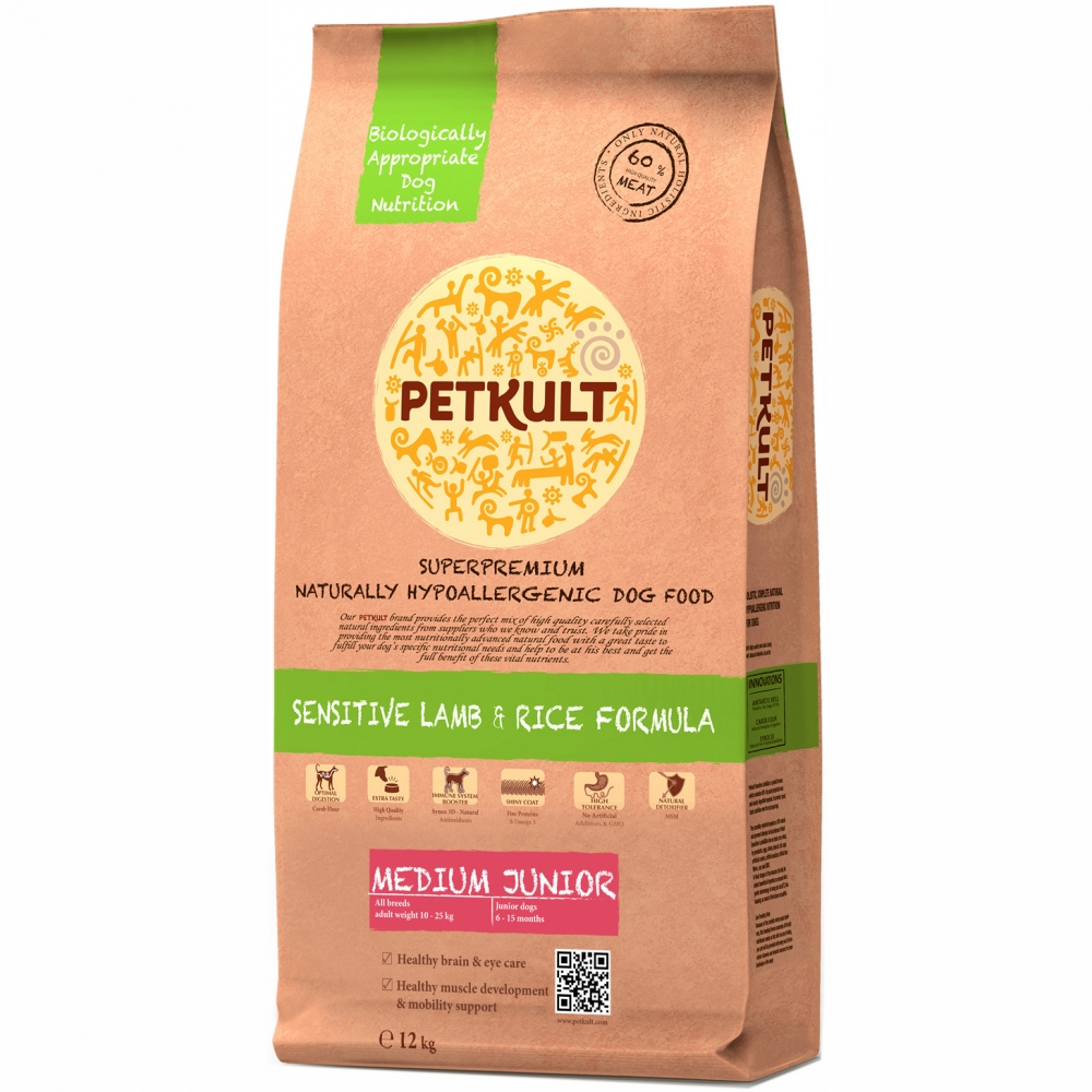 Hrana pentru caini Petkult Sensitive Medium Junior Miel&Orez 12Kg