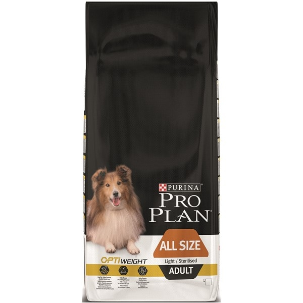 Hrana pentru caini, Pro Plan Adult Light Sterilised All Size, 14 kg